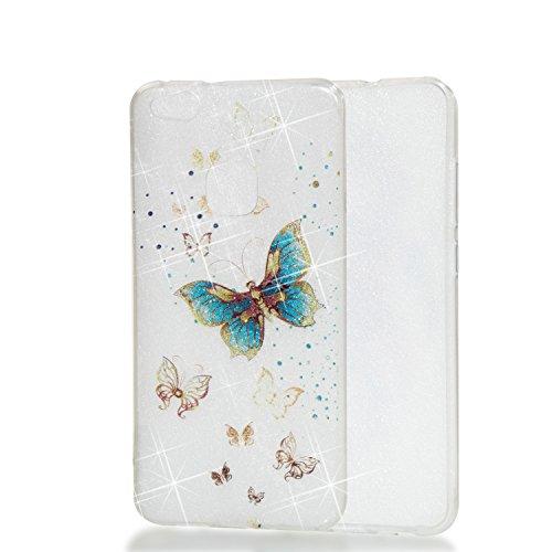 Qiaogle Teléfono Caso - Funda de TPU silicona Carcasa Case Cover para Huawei Y5 2017 / Y6 2017 (5.0 Pulgadas) - YB69 / Dreamcatcher YB72 / Azul Mariposa