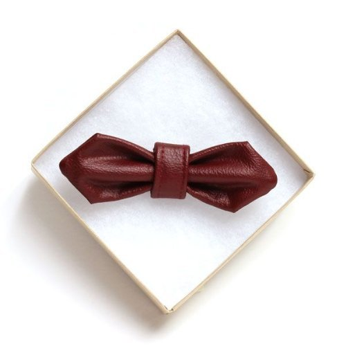 High-Fashion Red Leather (VEGAN) Doggy Bow Tie (REGULAR) Handcrafted in Los Angeles