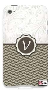Monogram Initial Letter V Apple ipod 4 Quality Hard Case Snap On Skin for ipod 4/4G (WHITE)