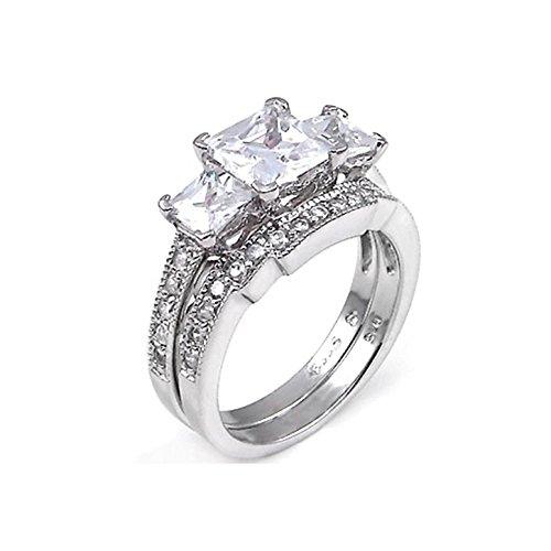 2 ct Princess cut Past Present Future Bridal Wedding ring designer Set 925 Silver