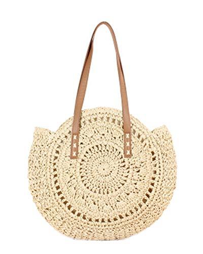 Straw Large Bag Woven Shoulder Bag Wallet Ladies Handbag Round Beach Purse Retro Handle Bag (Beige2)]()