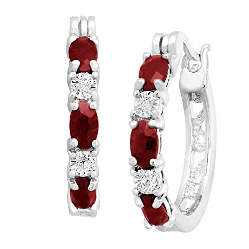 Platinum-Plated Brass 1 1/2 ct Natural Garnet Hoop Earrings with Diamonds.875