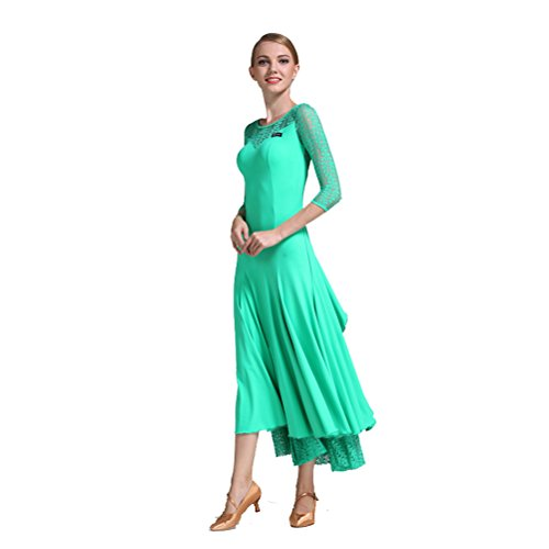 [Women Imported Lace Silk Big A Hemline Spanish Dance Costume Flamenco Ballroom Waltz Standard Dance Dresses (M, Green)] (Spanish Dancing Costumes For Women)