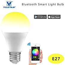 Victorstar @ UU Bluetooth Smart LED Light Bulb 4.5W - Smartphone Control Dimmable Multicolored Color Changing Light -Music Sync and MIC Model - Works with iOS / Android Smartphone and Wear Device by App (E27)