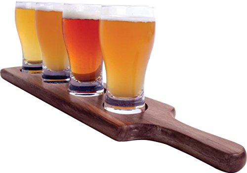 Alcraft-Beer-Tasting-Flight-Tray-Set-w-17-Paddle-6-Ounce-Pilsner-Glasses