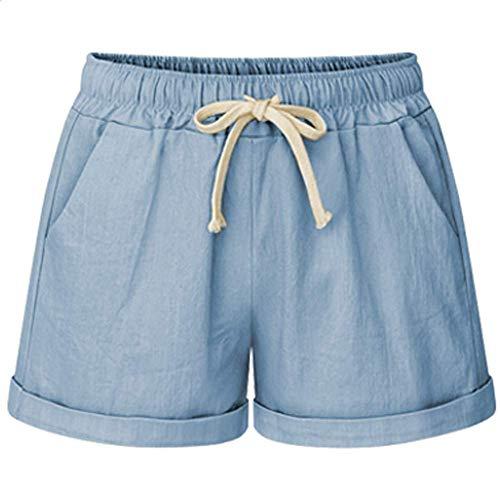 Yknktstc Womens Plus Size Elastic Waist Cotton Linen Casual Beach Shorts with Pockets Large Sky Blue
