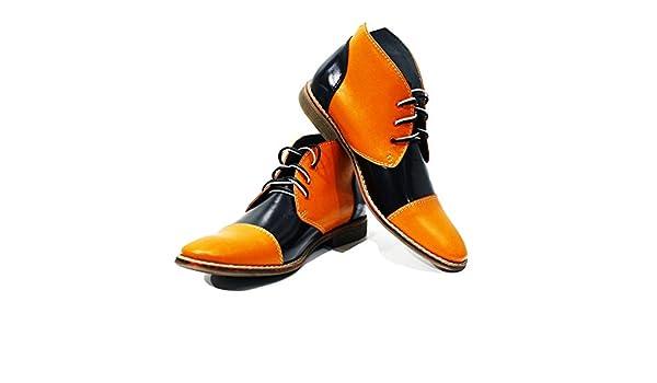 Modello Alatri - Cuero Italiano Hecho A Mano Hombre Piel Naranja Chukka Botas Botines - Cuero Cuero Suave - Encaje: Amazon.es: Zapatos y complementos