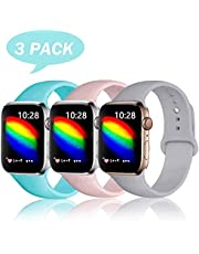 DCMEKA Compatible with Apple Watch Strap 38mm 42mm 40mm 44mm for Women Men, Soft Silicone Waterproof Replacement Strap for Apple Watch Series 4/3/2/1, Multi Colours