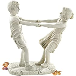 Design Toscano Little Girl and Boy Dancing Garden Statue, Large, Antique Stone