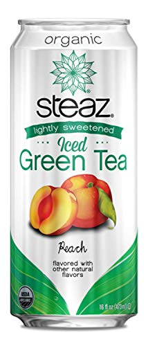 Steaz Organic Iced Green Tea with Peach, Lightly Sweetened, 16 OZ (Pack of 1) (Tea Cans Peach Green)