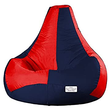 Super Rns Rest N Sleep Leather Bean Bag With Filled Beans Red Navy Blue 3Xl Machost Co Dining Chair Design Ideas Machostcouk