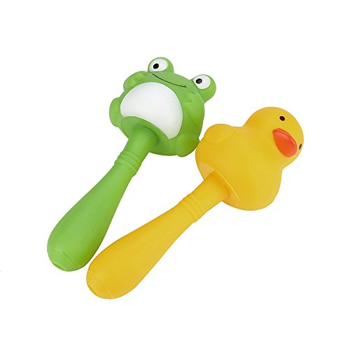 Gbell 2Pcs Handbell Rattles Bath Toys For Toddlers Boys Girls Baby Kids - Swimming Wash Play Bathtime Cartoon Handbell Rattles (C) (Rattle Pal)