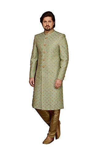 Indian Designer Partywear Ethnic Traditional Green Mens Wear Indo Western. by Da Facioun