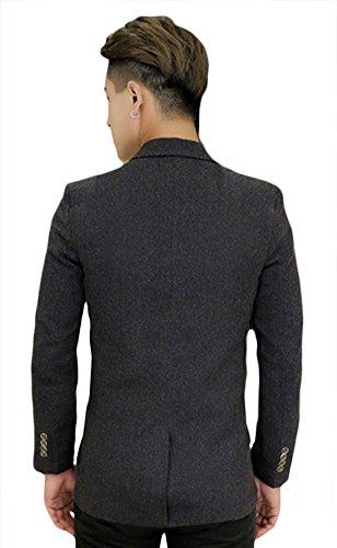 De Fit Ocio Moda Blazer Insun Traje Hombres Negocio Slim Sport Chaqueta Gris Botones Casual Con Dos YB8qtqwg