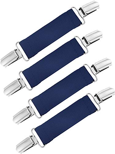 Chengu 4 Pieces Strong Stainless Steel Mitten Clips Elastic Gloves Caps Clips for Baby and Kids (Dark Blue)