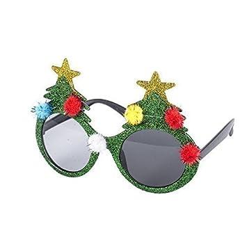 0421d9374c97 Novelty Christmas Fancy Dress Glasses (Green Glitter Christmas Tree with  Pom Poms)  Amazon.co.uk  Toys   Games