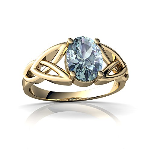 14kt Yellow Gold Aquamarine 8x6mm Oval Celtic Trinity Knot Ring - Size 9