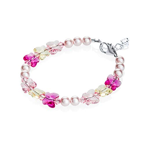 Crystal Dream Pink Sparkly Spring Baby Bracelet with Swarovski Butterflies (B1709_M+)