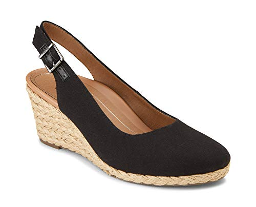 Vionic Women's Aruba Coralina Slingback Wedge - Espadrille Wedges with Concealed Orthotic Arch Support Black 8.5 M US