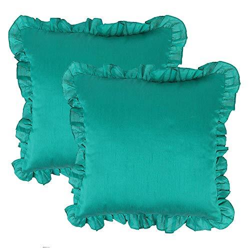 (The White Petals Jade Green Euro Sham Covers (Ruffles, 26x26 inch, Pack of 2))