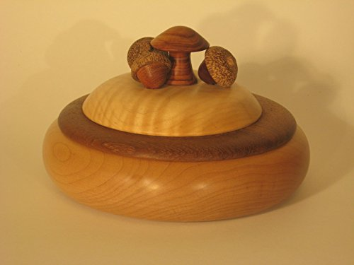 (Maple and teak container with mushroom and acorn top. The mushroom is tulip wood, the acorns bubinga and red)