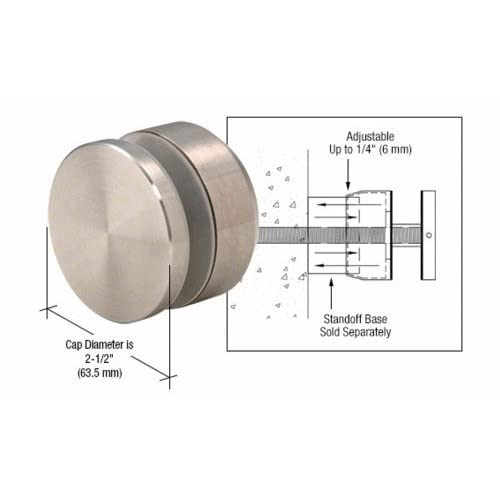 """CRL Brushed Stainless Adjustable Height Standoff Cap for 2"""" Base"""