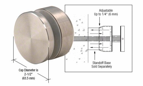 CRL Brushed Stainless Adjustable Height Standoff Cap for 2
