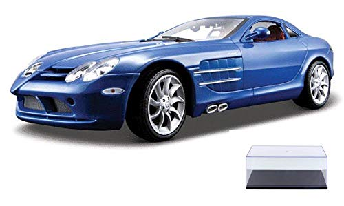 Diecast Car & Display Case Package - Mercedes Benz SLR McLaren, Blue - Maisto Premiere 36653 - 1/18 Scale Diecast Model Toy Car w/Display Case