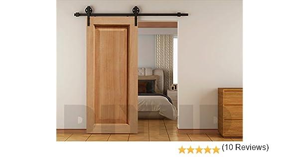 6 ft Vintage correa Rueda industrial puerta corredera de madera Granero hardware Track Kit, Negro: Amazon.es: Bricolaje y herramientas