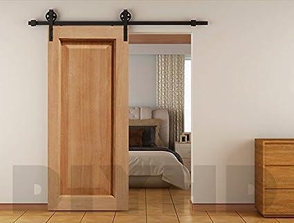 6 ft Vintage correa Rueda industrial puerta corredera de madera Granero hardware Track Kit, Negro