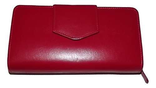 (Italia Leather Women's RFID Blocking Credit Card & Checkbook Clutch Wallet Red)
