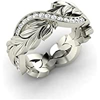 Promsup Genuine Women 925 Silver Floral Ring Dazzling Flower Vine Jewelry Propasal Ring (6)