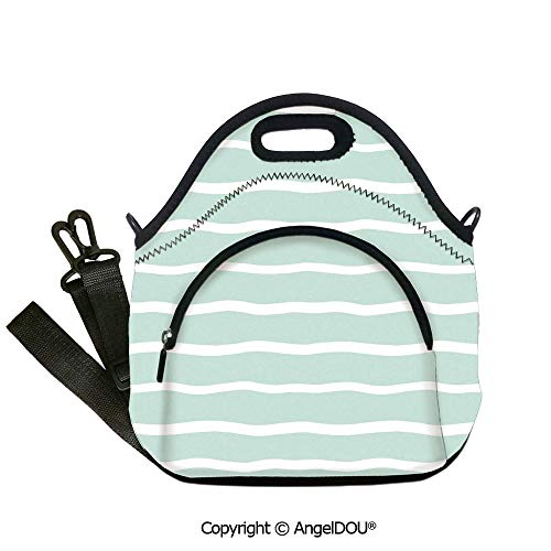 AngelDOU Mint lightweight Portable Picnic tote lunch Bags Horizontal Wavy Lined Color Striped Abstract Soft Toned Nautical Art Display lunch bag for Employee student Women Girls.12.6x12.6x6.3(inch)