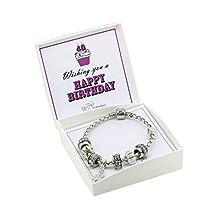 Happy Birthday Leather Charm Bracelet Pandora Style Gift Boxed