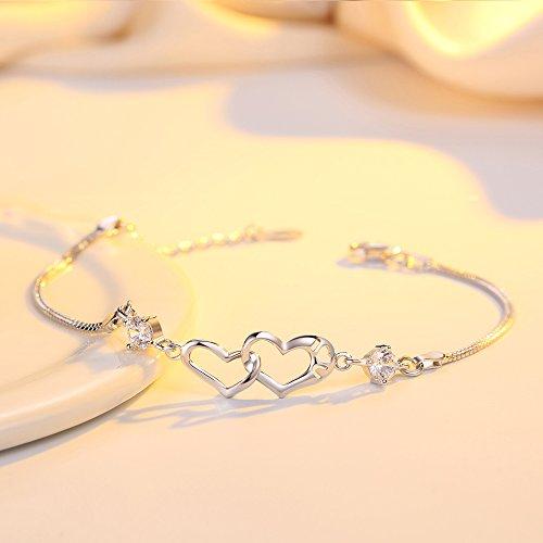EVERU Heart Love Bracelet for Women, 925 Sterling Silver Adjustable Charm Forever Bracelet by EVERU (Image #2)