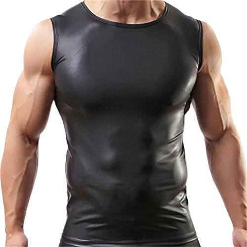 ONEFIT Men No-Fitness Y-Back Gym Tank Top Leather Sport Bodybuilding T-shirts L