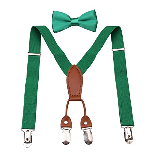 GUCHOL Baby boys Suspenders Bow Tie Set - Adjustable Elastic Classic Accessory Sets Age 1 to 6 Year