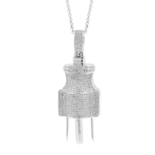 3.23ct Diamond Plug Socket Mens Hip Hop Pendant Necklace in 925 Silver by Isha Luxe-Hip Hop Bling