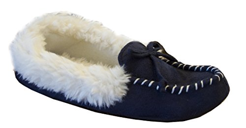 Isotoner Women's Microsuede Hilary Bow Detail Fur Trimmed Moccasin, Navy Blue, ()