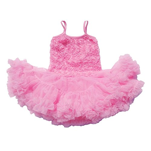 DQdq Baby Girls' Summer Clothing Sleeveless Layered Princess Dress with Rose Pink 2-3 (Rose Pink Layered)