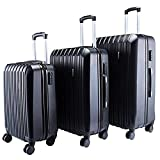 Nice1159 Set of 3 Luggage Set Travel Bag ABS- Trolley Spinner Suitcase TSA Expandable Lock, Black New (Only 5 Sets Left) US