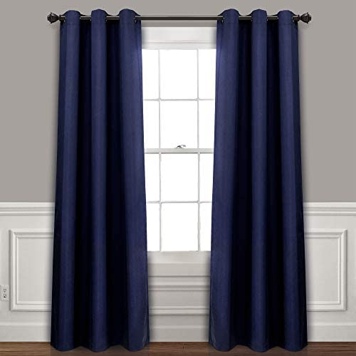 Lush Decor Absolute Blackout Navy Insulated Grommet Window Curtain Panel Pair