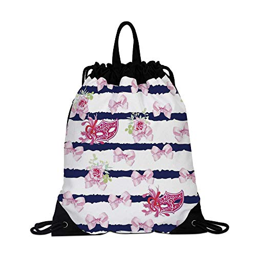 (Masquerade Canvas Drawstring Bag,Venetian Style Carnival Masks on Stripes with Satin Bows Roses Flowers for Shopping Travel,One_Size)