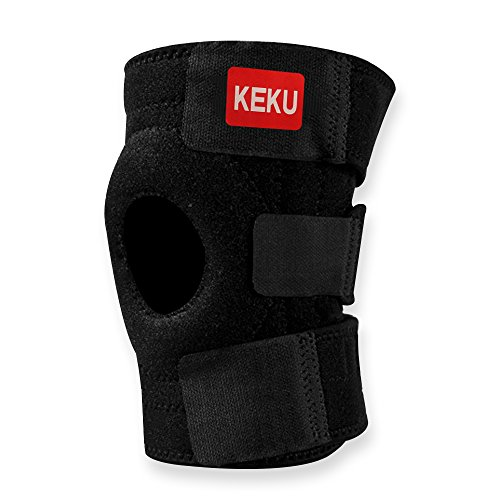 KEKU Breathable Neoprene Knee Brace and Support, Best Open Patella Knee Protector Wrap Relieves Pain Symptoms,one Size, Black by KEKU