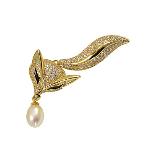 Paialco Yellow Gold Tone Cluster CZ Fox Brooch Pin with Drop Shape Cultured Freshwater (Cultured Pearl Yellow Brooch)