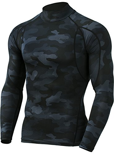 Tesla TM-MUT12-MBK_Large Men's Mock Long-Sleeved T-Shirt Cool Dry Compression Baselayer MUT12 by Tesla