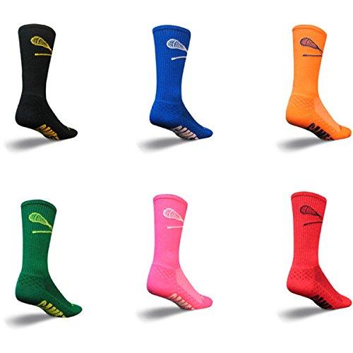 SockGuy Crew 8in LAX Padded Lacrosse Socks (LAX Blue - S/M)