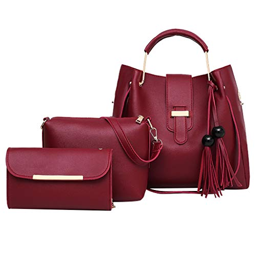 ♖Loosebee♜ Fashion Pu Leather Women Handbag+Shoulder Bag+Purse 3Pcs Bag Weave Tote Handle Satchel Shoulder Tote Bag Purse Set Wine