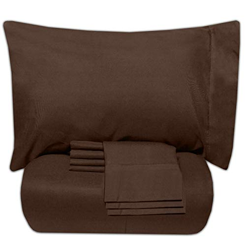 - Sweet Home Collection 7 Piece Bed-In-A-Bag Solid Color Comforter & Sheet Set, Queen, Brown,