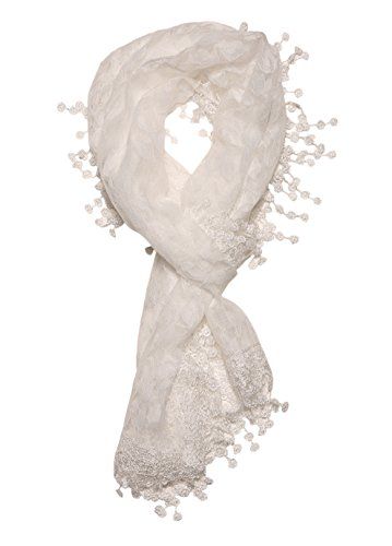 Cindy and Wendy Lightweight Soft Leaf Lace Fringes Scarf shawl for Women,White,One Size by Cindy and Wendy (Image #4)